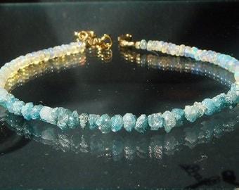 Raw Blue Diamond Bracelet, Opal Bracelet, October Birthstone, Stacking Layering Bracelet Summer Glow CUSTOM Your Length in Gold or Silver
