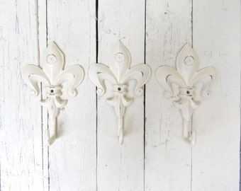 Fleur De Lis Hooks, Key Hooks, Towel Hooks, Coat Hooks, Ivory Hooks, Paris Apartment, French Inspired, Shabby Cottage Chic, Rustic Decor