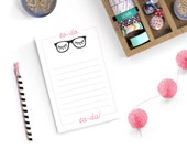 Glasses Notepad Eyelash Holiday Gift Hipster Glasses Chic Nerd Note Pad Fashion Typography Black and Pink Home Office Modern Christmas Gift