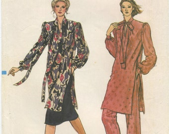 Vogue Long Tunic, Straight Skirt and Pants Sewing Pattern Plus Size 18 Vogue 7960 UNCUT Loose Fitting, Tie Collar, Side Slits, Shoulder Pads