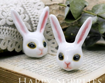 30% off - 1pcs Handmade Rabbit Portrait Ceramic Pendant (PC010) - [Designer Series]