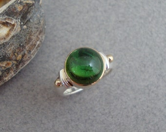 Green Tourmaline Ring in 18k Gold and Sterling, Green Gemstone Ring
