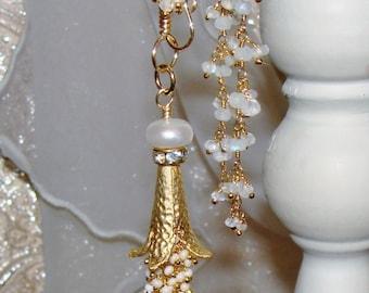 Angel trumpet fresh water pearl and moonstone beaded tassel necklace Sacred Jewelry Pamelia Designs