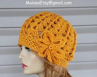 Slouchy Beanie Hat, Beanie Beret HAT w/flower, All Seasons Beanie HAT, Womens Hat, GIFT Fashion Hat, One day Sale Hat, Slouchy Beanie Hat