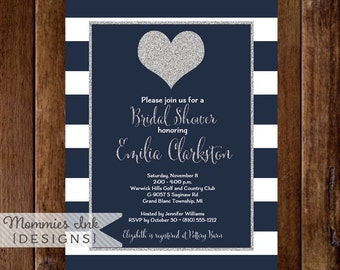 Silver Glitter Heart Bridal Shower Invitation, Navy & White Stripes, Navy and Silver Shower Invitation, Silver Heart Invite, Modern Invite