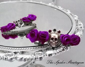 OOAK Gothic victorian hair clips 'Memento Mori' goth halloween