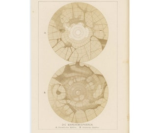 1894 ANTIQUE PRINT of MARS - planet hemisphere map original antique astronomy celestial print
