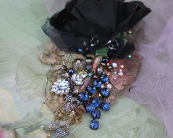 Black rose brooch, embroidered and beaded brooch, mixed media