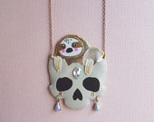 Gold Sloth Skull Necklace