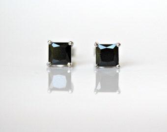Black stud earrings - sterling silver square prong set 5mm princess cut black cubic zirconia studs - sterling posts - simple jewelry - Minka
