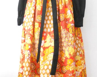 Vintage Iconic Hostess Dress •  1970s Quilted Hostess Dress • Bold Orange Black Print Long Dress