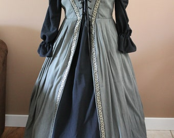 """Bust 40"""" Olive and Gold Trim Irish Maiden Style Gown Dress Tudor Renaissance Medieval Gown"""
