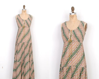 Vintage 1970s Dress / 70s Floral Striped Cotton Maxi Dress / Green and Pink (small S)