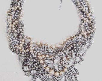 Chunky Rhinestone Wedding Statement Necklace Custom Bridal Pearl Vintage Wedding Necklace MADE TO ORDER Custom Necklace