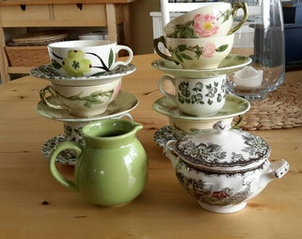 Eclectic Beautiful Green mismatched China Tea Set