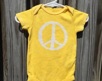 Peace Sign Baby Bodysuit (9 months), Yellow Baby Peace Sign Bodysuit, Peace Sign Baby Gift, Baby Shower Gift, Gender Neutral Baby Gift