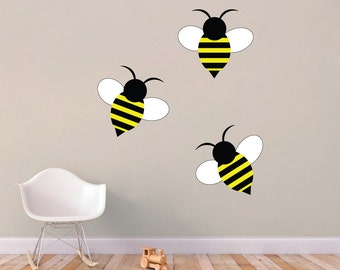Set Of 3 Bumble Bees - Nursery and Kids Room Animal Printed Wall Decals