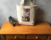 The Flapper and Her Greyhound - Small Natural Canvas Bag - Vintage Photograph - 1920's - Essentials Tote - Vintage Dog - Handbag Tote