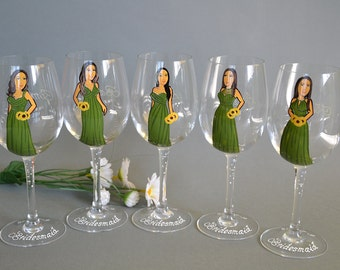 SALE Hand painted Bridal shower party Personalized Wine glasses Portraits bridesmaids caricature gift green dresses