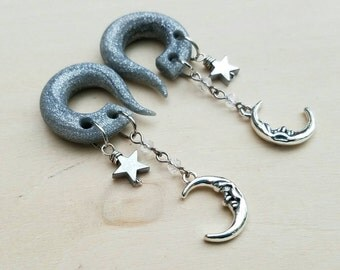 Crystal Moon Gauges with Silver Hematite Stone Stars