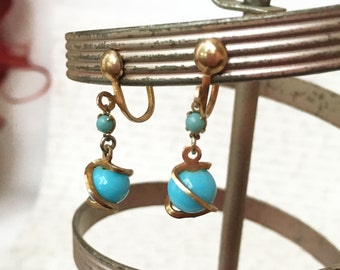 Blue and Gold Earrings, Aqua Blue Screw Back Earrings, Dangling Earrings, Gold and Blue Earrings, Baby Blue Earrings Faux Turquoise Earrings
