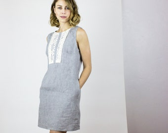 Gray Gardens Washed linen dress - Handmade summer linen dress with vintage lace trim / Sustainable eco fashion - New collection