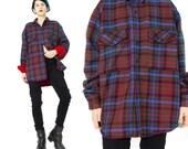 Vintage Plaid Flannel Shirt 90s Grunge Mens Plaid Shirt Blue Red Plaid Button Down Shirt Lumberjack Camping Warm Wool Long Sleeve (L/XL) E13