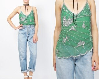 90s Sequin Tank Top Beaded Party Tank Sheer Green & Silver Sequin Top Vintage Sparkly Beaded Evening Top Asymmetrical Scalloped Hem  (XS)