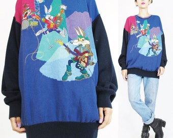 90s Looney Tunes Sweater Rock Star Rock N Roll Novelty Sweater Colorful Knit Jumper Color Block Pullover Unisex Crewneck Sweater NWT (L)