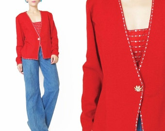 30% OFF SALE Vintage St John Evening Red Cardigan Sweater Crystal Sparkly Diamante Party Sweater Designer Embellished Red Knit Jumper (M)