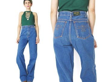 1970s High Waist Jeans Vintage 70s Jeans Flared Wide Leg Jeans Medium Wash Jeans Brittania Womens Jeans Embroidered Back Pockets (XS/S)