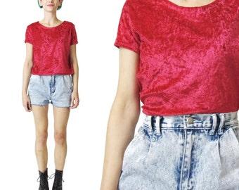 Vintage 90s Crushed Velvet Tshirt Red Velvet Top Modern Goth Stretch Velvet Tshirt Hipster 90s Grunge Velvet Tee Shirt Short Sleeve Tee (M)