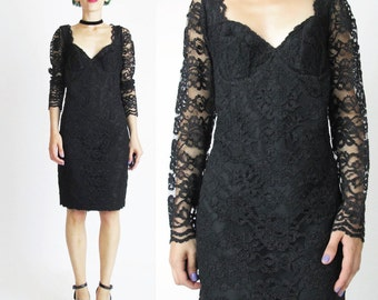 1980s Black Lace Dress Sheer Lace Sleeves Long Sleeve Black Lace Dress Sweetheart Bustier Dress Fitted Sexy Lace Party Dress (M) E299