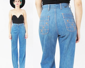 1970s Wrangler High Waist Jeans 70s Bell Bottom Jeans Soft Blue Jeans Hippie Vintage Womens 1970s Jeans Embroidered Back Pockets (XS)