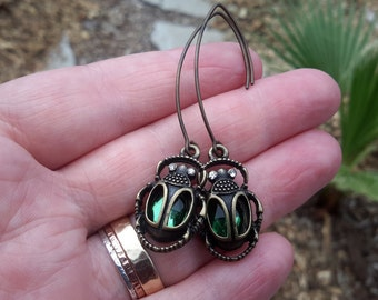 Egyptian Scarab Beetle Earrings   Long Bronze and Green Gem Revival Style Dangles