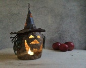 Super rustic tin witch candle holder, vintage Halloween metal candle lantern, spooky witch LED candle lamp, Halloween decor, Halloween light