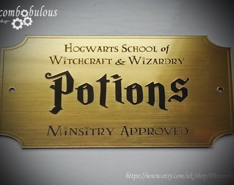 Potion Brass Plaque for Witches and Wizards, Gryffindor, Slytherin, Hufflepuff, Ravenclaw, Hogwarts, Death Eater, Hogwarts