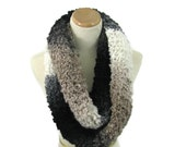 Knit Infinity Scarf, Black Brown Scarf, Knit Scarf, Knit Cowl, Gift Idea For Her, Snood, Fiber Art, Women Scarf, Fashion Scarf, Circle Scarf