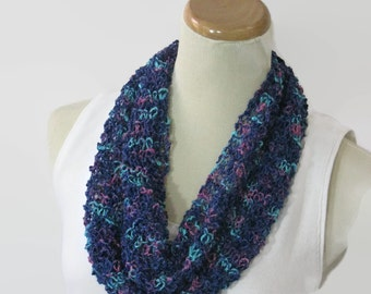Hand Knit Cowl, Blue Cowl, Knit Scarf, Scarf, Knit Circle Scarf, Loop Scarf, Gift For Her, Fashion Scarf, Summer Scarf, Christmas In July