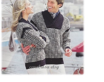 Knitting Pattern - His n Hers SAILING SWEATERS Jumpers/Men or Women 34 to 44 in chest