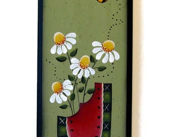 Watermelon and Daisy Sign, Handpainted Wood, Primitive Home Decor, Hand Painted Prim Wall Art, Tole Decorative Painting, B6