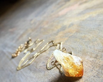 Raw Citrine Necklace, Raw Stone, Citrine Pendant, Crystal Nugget, Rough Gemstone Necklace, Boho Jewelry