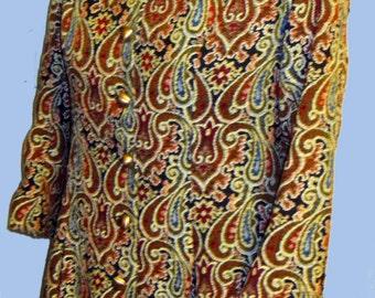 Women's Vintage Brocade  60's Tapestry Coat/Boho /Mod Style Sz S