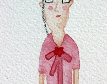 The Librarian, original watercolor, spinster, books, library, reader, simple art. lady, office art, whimsical, pink and black