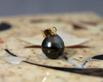 Dawn - Tahitian pearl pendant, pendant necklace, black Tahitian pearl, jewelry, Tahitian pearl, gift idea for her, Tahitian pearl necklace