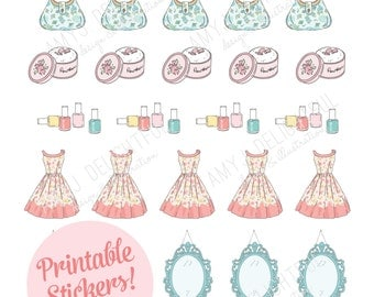 Printable Vintage Girly Things stickers!-Digital File Instant Download-powder puff, suitcases, dress, happy planner, bible journaling