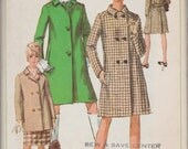Simplicity 7307 / Vintage 60s Sewing Pattern / Coat Jacket / Size 14 Bust 34