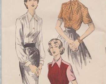 Advance 5766 / Vintage 50s Sewing Pattern / Shirt Top Blouse / Size 16 Bust 34