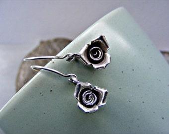 Rose earrings in silver, sterling silver earrings, Thai Karen silver earrings, rosebud earrings, petite silver earrings, flower earrings
