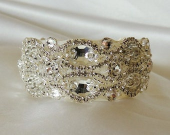 Wedding Bridal Crystal Bracelet Cuff Bangle